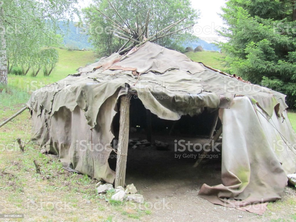 American Military Tent Historical Reenacting Of Ww2 Stock