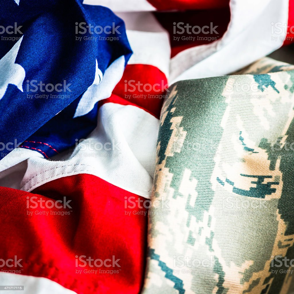 American Military Uniform and US Flag stock photo