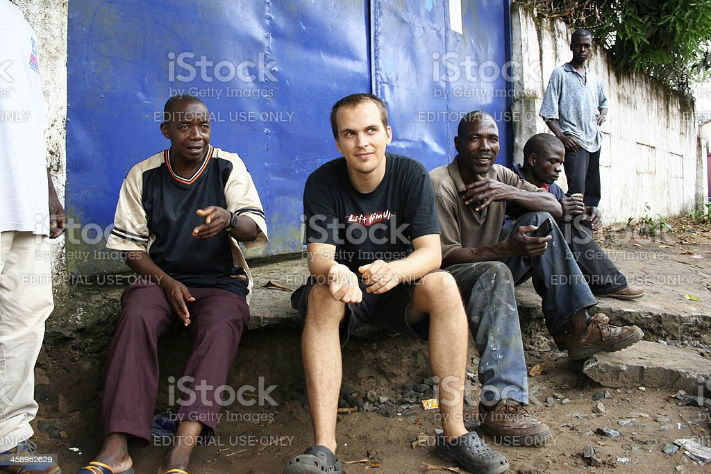 American Missionary With Liberian Men stock photo