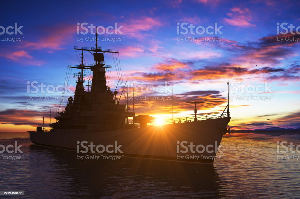 American Modern Warship On The Background Of Sunset stock photo