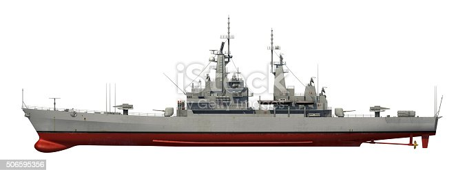 istock American Modern Warship Over White Background 506595356