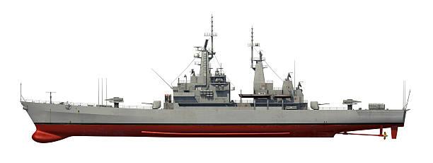 americana moderna sobre fundo branco navio de guerra - fragata - fotografias e filmes do acervo
