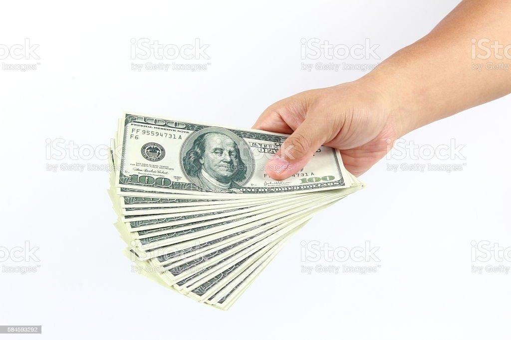 American money in hand stock photo
