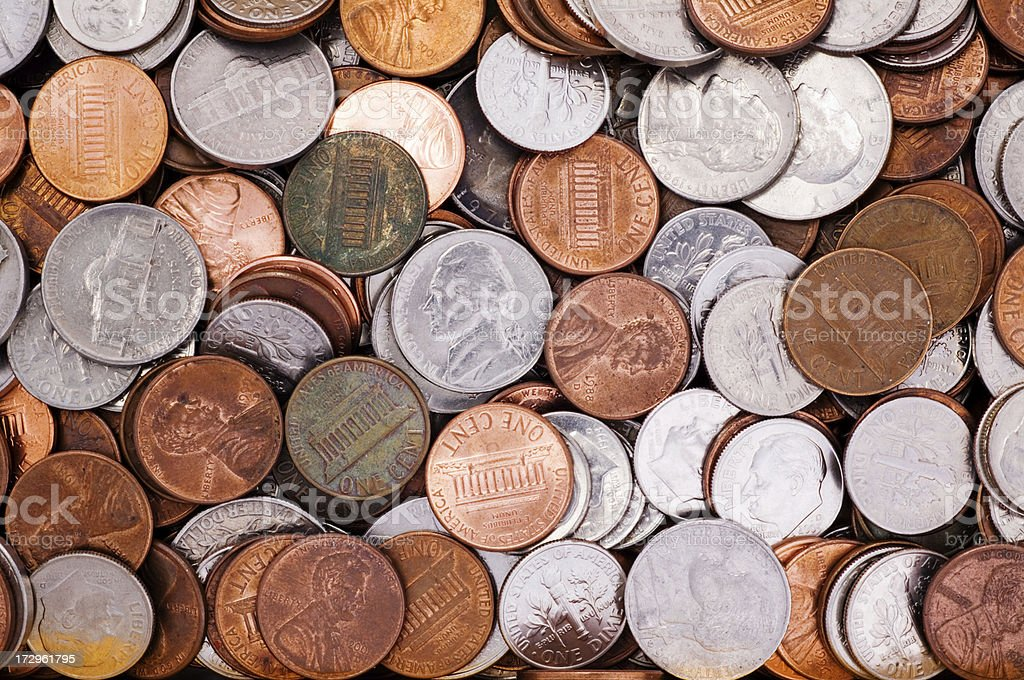 American Money Pennies Nickels Dimes And Quarters royalty-free stock photo