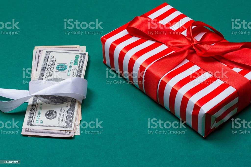 american money with gift box stock photo