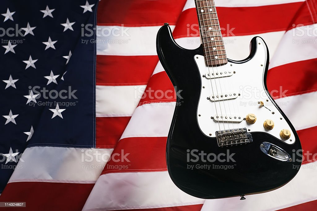 American music: guitar with US flag stock photo