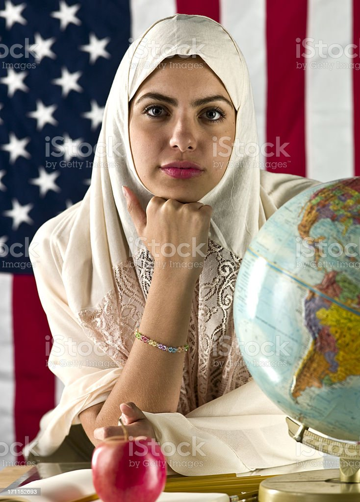 American muslim college student stock photo