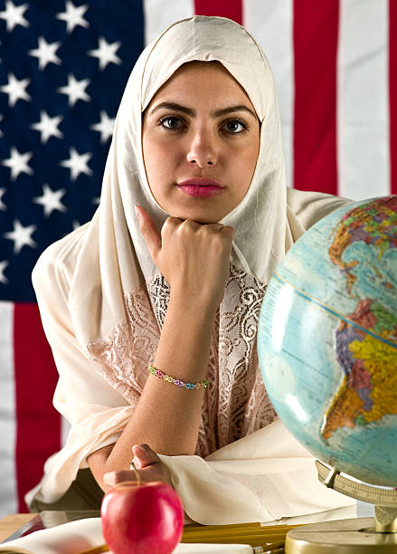 american muslim college student - arabic girl stock photos and pictures