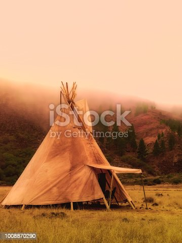 Teepees tent camp, home of the ancient Native Americans