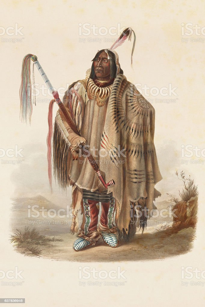 American native with headdress engraving 1841 stock photo