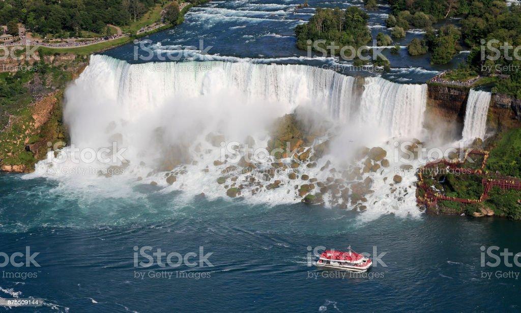 American Niagara Falls and cruise boat stock photo