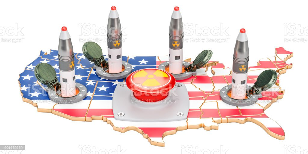 American nuclear button concept. USA missile launches from its underground silo launch facility, 3D rendering stock photo