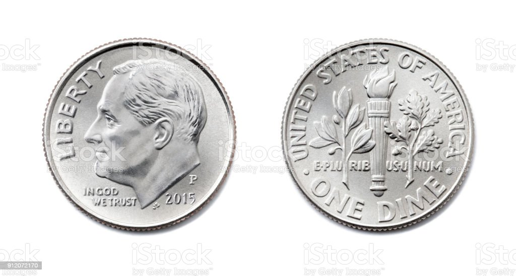 american One dime, USA ten cent, 10 c coin both sides isolate on white background. President Franklin D. Roosevelt on silver dollar coin realistic photo image. stock photo