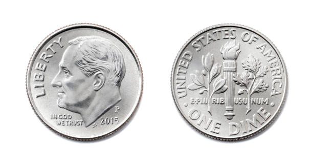 american One dime, USA ten cent, 10 c coin both sides isolate on white background. President Franklin D. Roosevelt on silver dollar coin realistic photo image. american One dime, USA ten cent, 10 c coin isolate on white background. President Franklin D. Roosevelt on silver dollar coin realistic photo image - both sides dime stock pictures, royalty-free photos & images