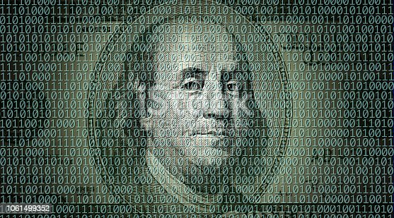 conceptual finance image of American one hundred dollar bill and binary code of one and zero
