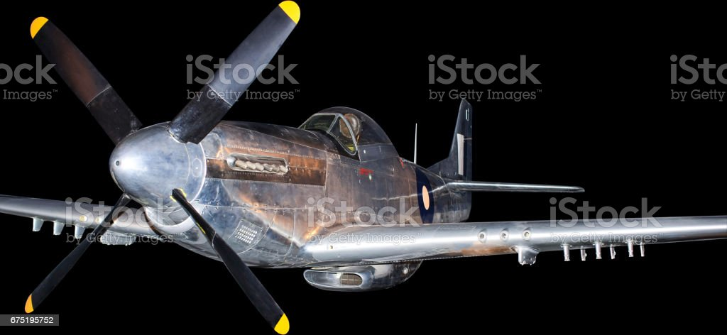 American P-51 Korean War fighter plane, isolated on black stock photo