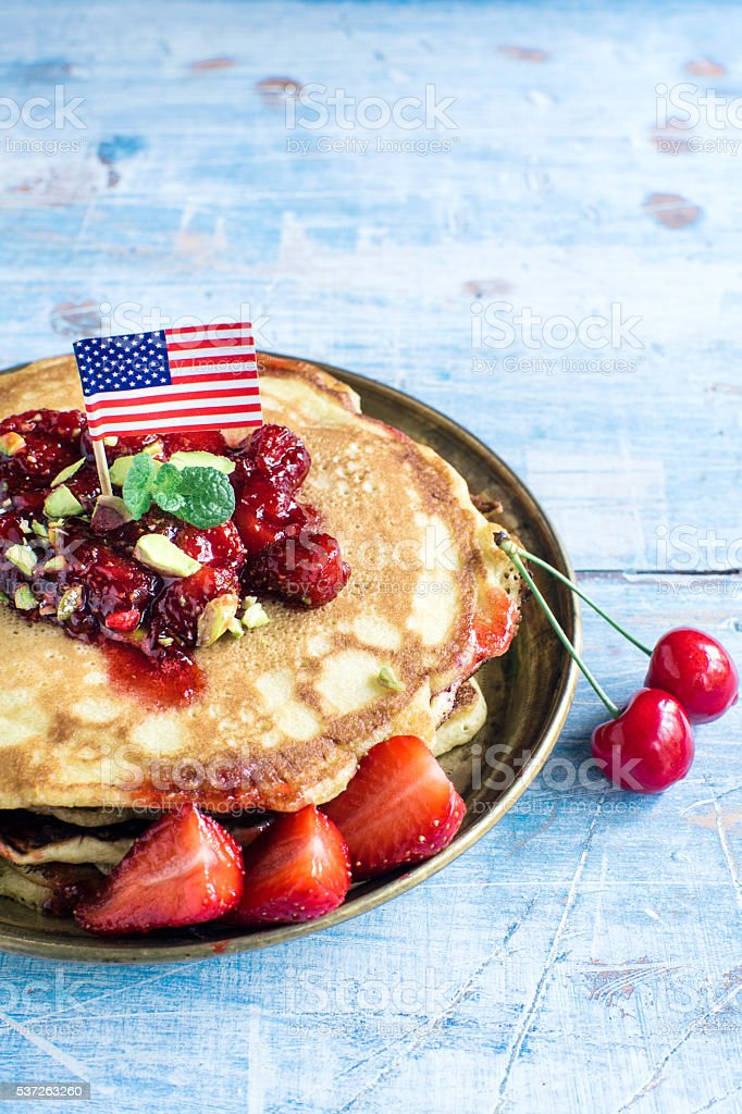 American pancakes with fruits stock photo