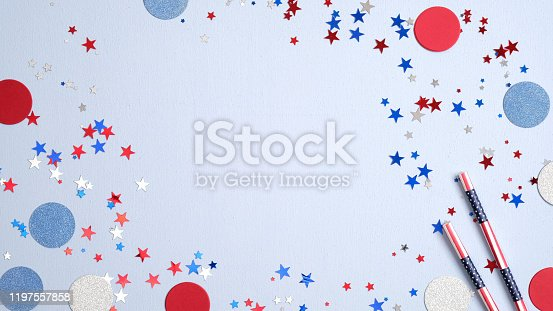 508026042 istock photo American party decorations on blue background. Happy Presidents Day banner with copy space. USA Independence Day, American Labor day, Memorial Day, US election concept. 1197557858