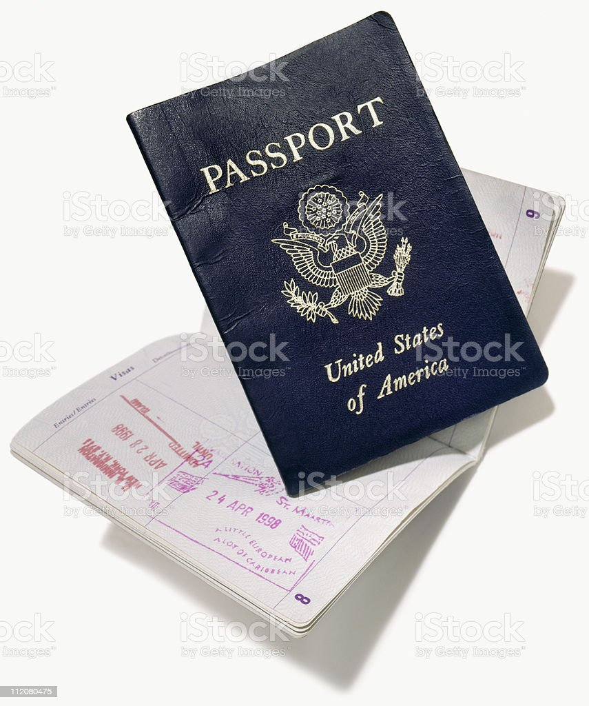 American passport cut out on white stock photo