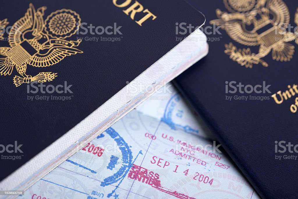 American Passports and Immigration Stamps Background royalty-free stock photo