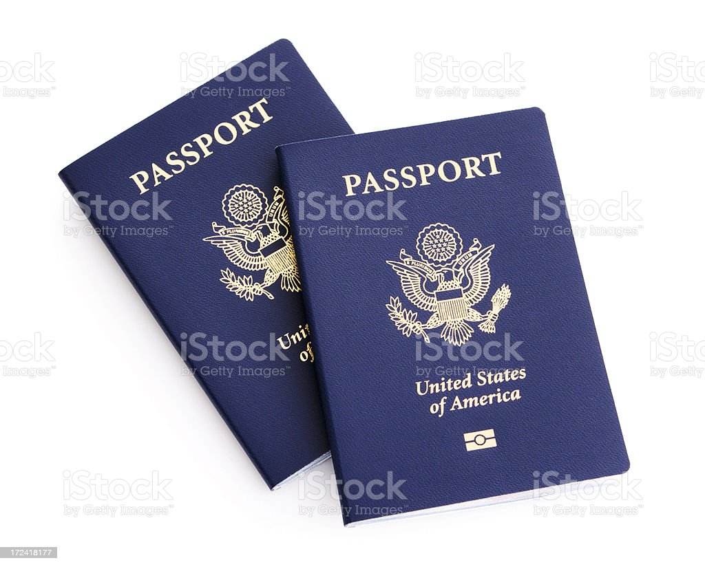 American Passports with Microchips royalty-free stock photo