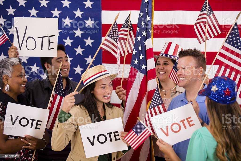 american voting usa political rally vote signs encourage flags istock only