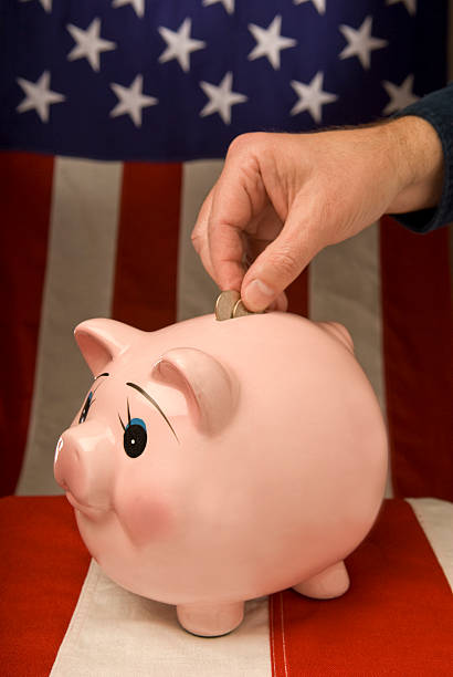 american piggy bank with depositor - depositor stock pictures, royalty-free photos & images