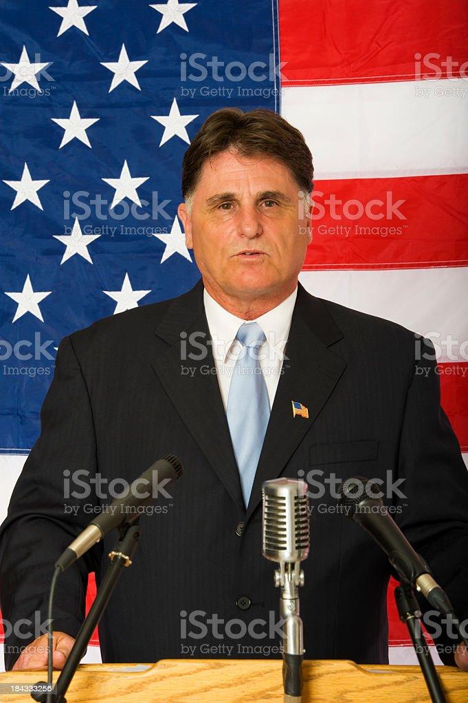 American politician making a speech stock photo