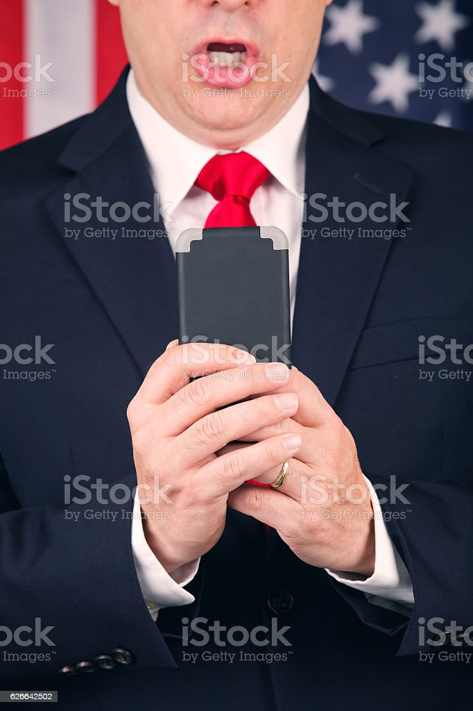 American Politician Texting stock photo