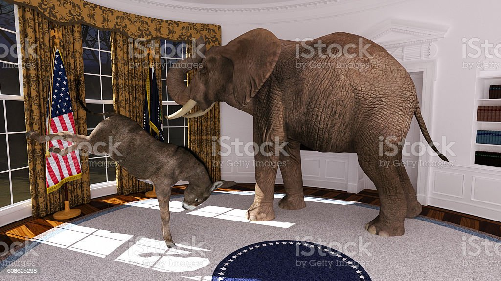 A donkey and an Elephant inside the Oval office of the White house.
