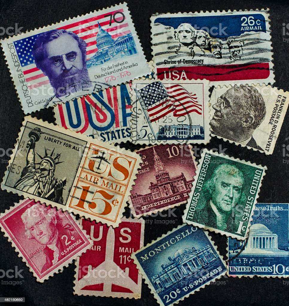 American postage stamps stock photo