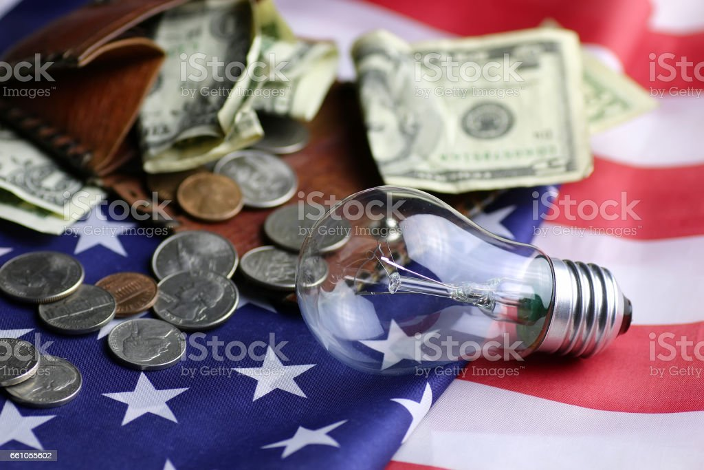 American power programm lamp coin money stock photo