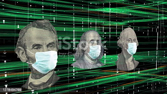 American President with face mask against CoV infection.  Concept digital recession. Global economy hit by corona virus outbreak and pandemic