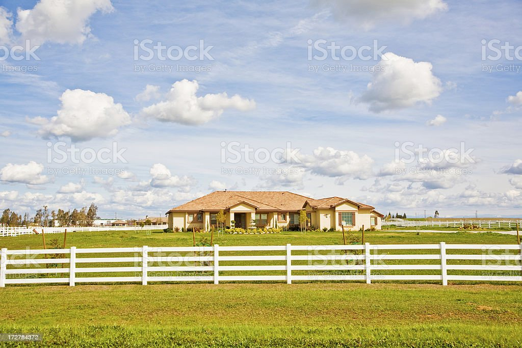 American Ranch House In Spring stock photo