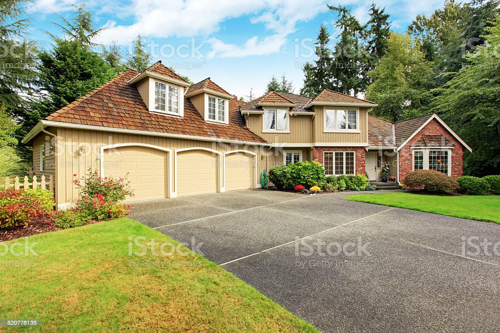 luxury house exterior with brick trim royalty free stock photo - Luxury House Exterior