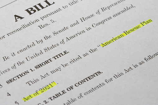 Closeup of the documents of the American Rescue Plan Act of 2021, a $1.9 trillion economic stimulus package proposed by President Biden to speed up the recovery.