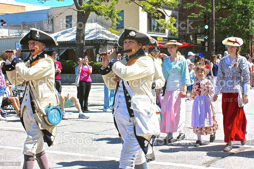 American Revolutionary War reenactors in 4th of July Parade stock photo