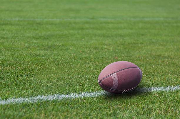 american rugby ball on the grass - rugby ball stock photos and pictures