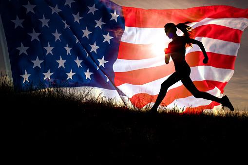 istock American runner. Usa sport 1128173380