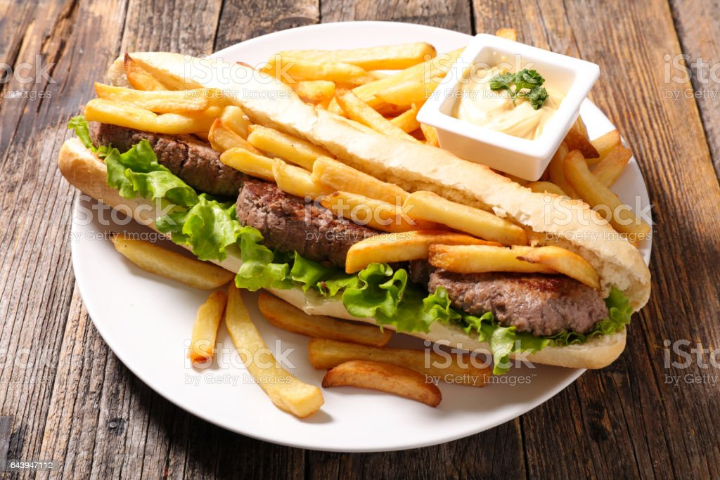 American Sandwich With French Fries Stock Photo Download Image
