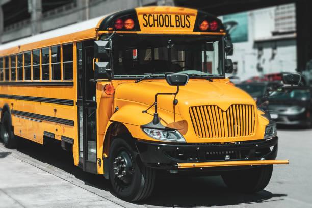 American school bus, Seattle, USA stock photo