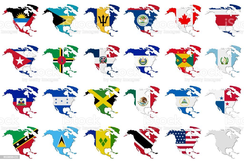 American set. Flags of the North America stock photo