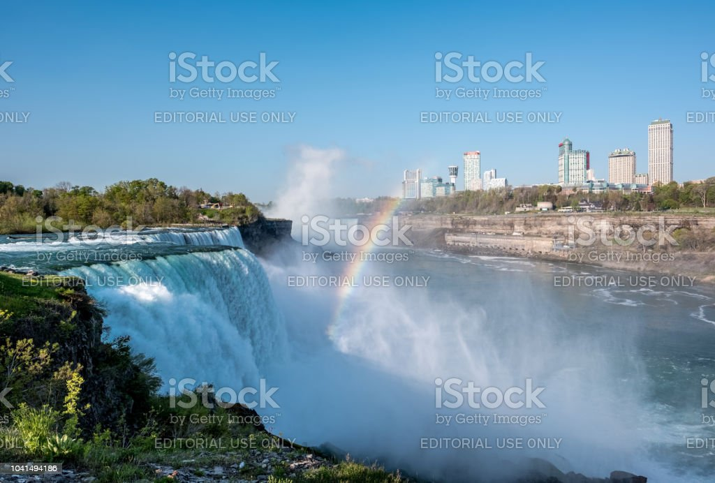 American Side Of Niagara Falls Waterfall With Rainbow View