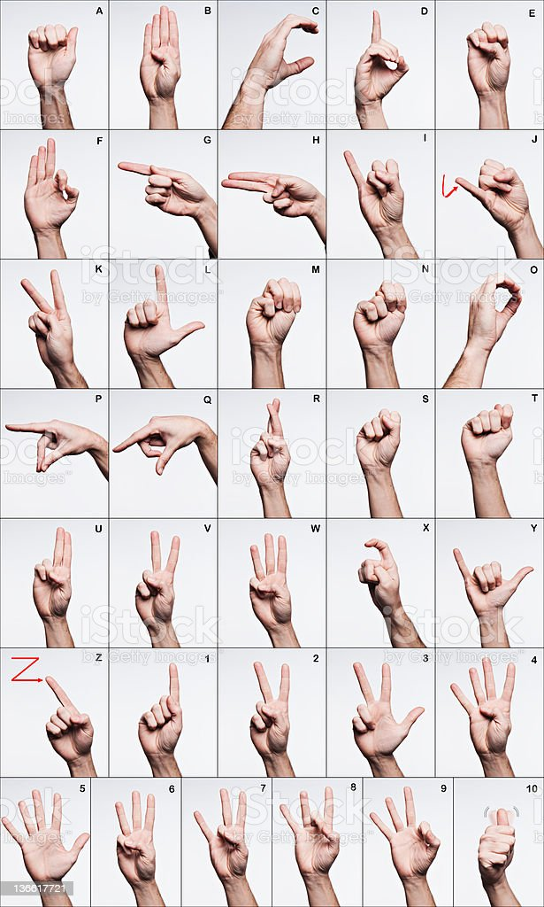 American Sign Language Alphabet stock photo