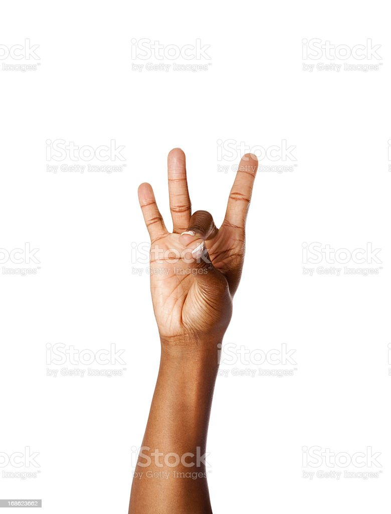 American Sign Language Number Eight royalty-free stock photo