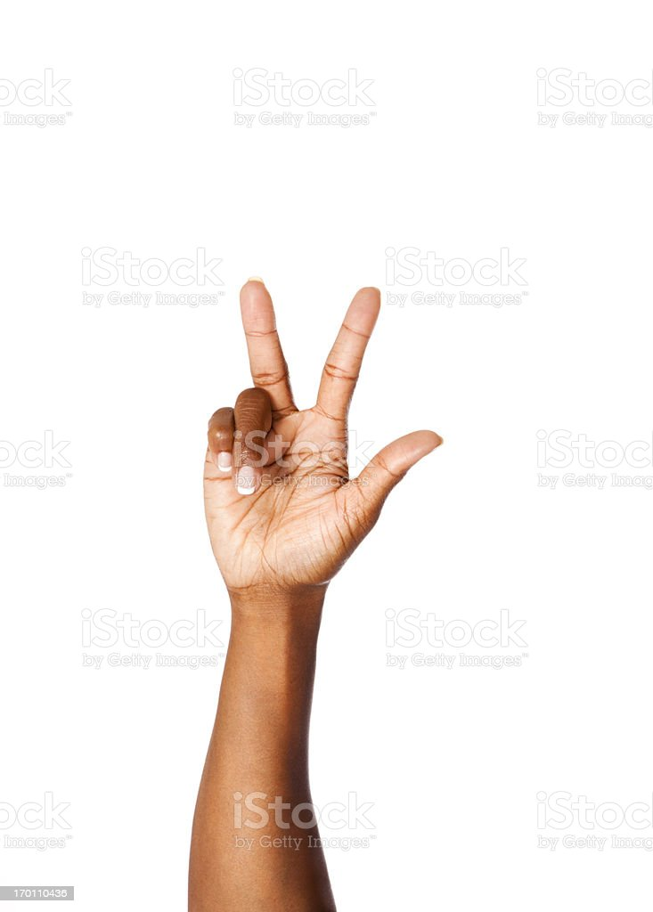 American Sign Language Number Three royalty-free stock photo