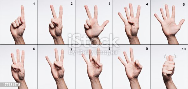 istock American sign language. Numbers from 1 to 10. 177131478