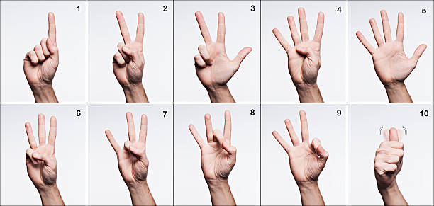 American sign language. Numbers from 1 to 10. stock photo