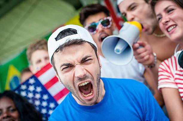 Amerikanisches Fußball-fan im Stadion Schreien – Foto