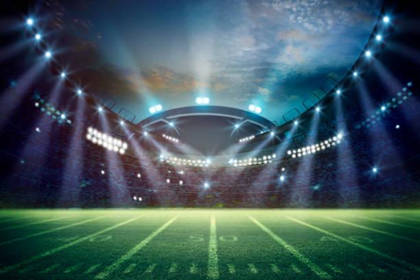 amerikanischer fußball-stadion 3d-rendering. gemischte fotos - fußball spielball stock-fotos und bilder
